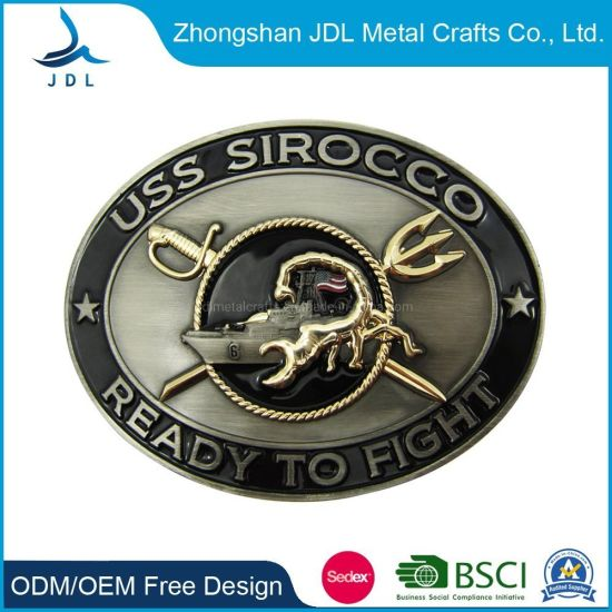 Wholesale High Quality Custom Made Fashion Zinc Alloy Soft Enamel 3D Army Men Name Custom Logo Military Steel Direct Sale Belt Buckle (011)