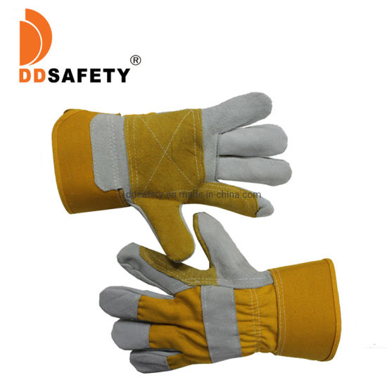 Reinforced Cow Leather Construction Safety Gloves