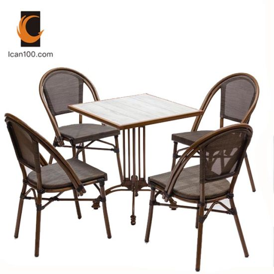 Eco-Friendly Material Garden Outdoor Coffee Shop Aluminum Patio Table Set Dining Room Furniture (I can-50026)