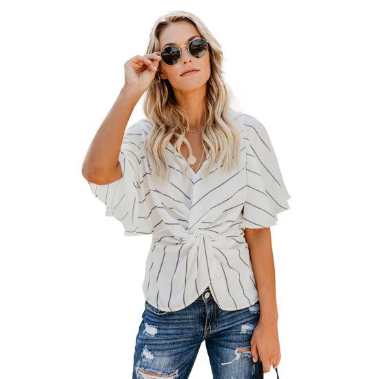 Fashion Women White Twist Front V Neck Chiffon Blouse Top