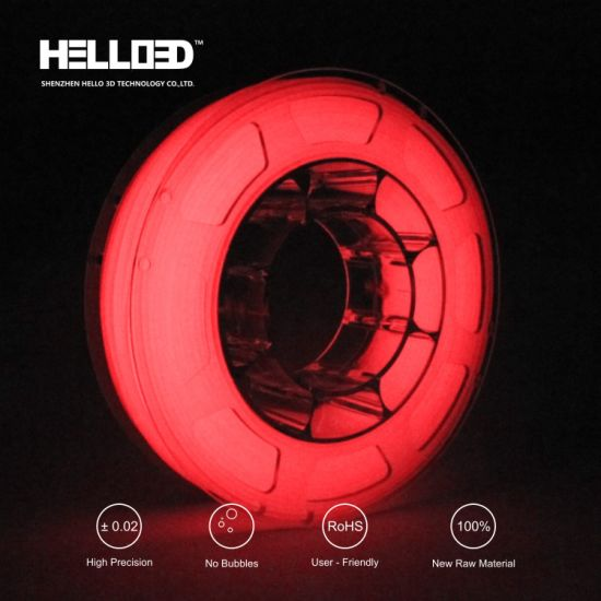 HIPS/PLA/ABS/Wood/Copper/Carbon Fiber/Glow in The Dark 1.75/3.0mm 3D Printer Material Luminous Red PLA ABS Filament