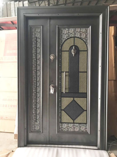 Economic Factory Price Exterior Front Entrance Security Wrought Iron Double Glass Doors/Wholesale Metal Steel Entry Door pictures & photos