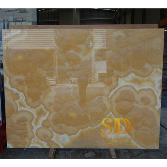 High Class Luxury Transparent Orange Onyx Slab for Big TV Walls in Palace