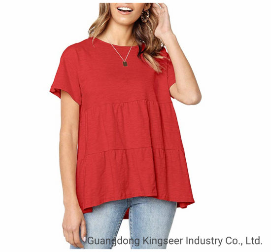 New Design Fashion Casual Wear Girl's Round Neck Loose Summer Women's T-Shirt Maternity Blouse Clothing Apparel Clothes