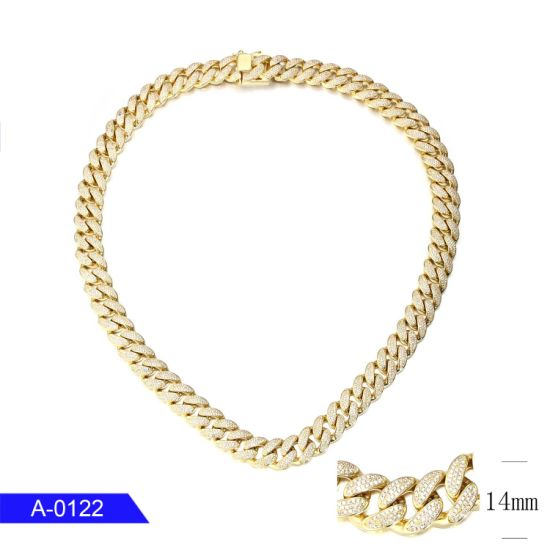 Wholesale Fashion Jewelry 925 Sterling Silver 18K Gold Plated CZ Long Chain for Men pictures & photos