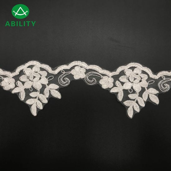 Wholesale Polyester Fashion Organza Embroidery Lace Trim for Wedding Dress