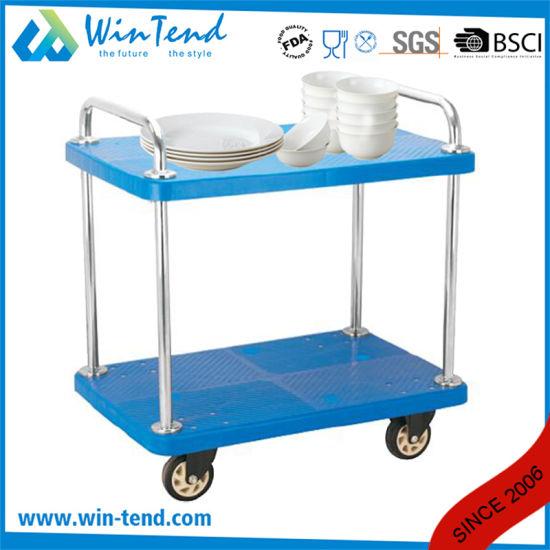 China 2 Tier Plastic Heavy Duty Cargo Push Utility Cart