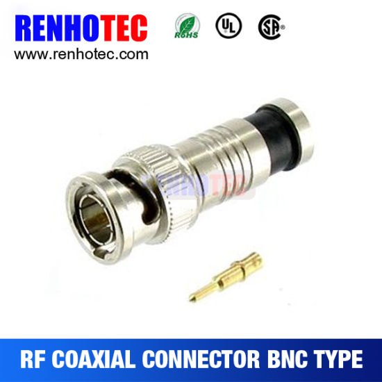 BNC Male Plug Compression Connector for RG6 Cable