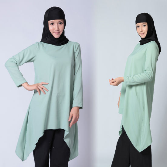Asymmetrical Muslim Women Long Sleeve Cotton Blouse China supplier pictures & photos