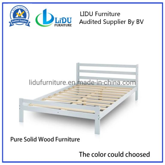 Direct Export Simple Design Wooden Bed, Simple Double Bed Design in Woods New Product Modern Bedroom Furniture Set Solid Wood Bed for Home