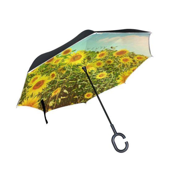 Windproof Double Layer Folding Inverted Umbrella, Self Stand Upside-Down Rain