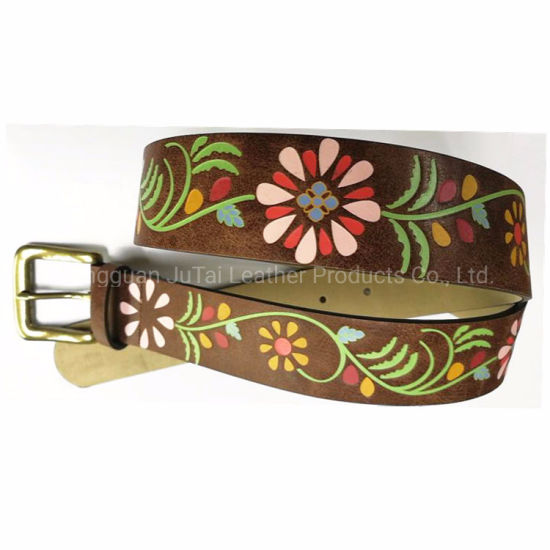 Dongguang Factory Price Colorful Flower Printed Leather Women Belts