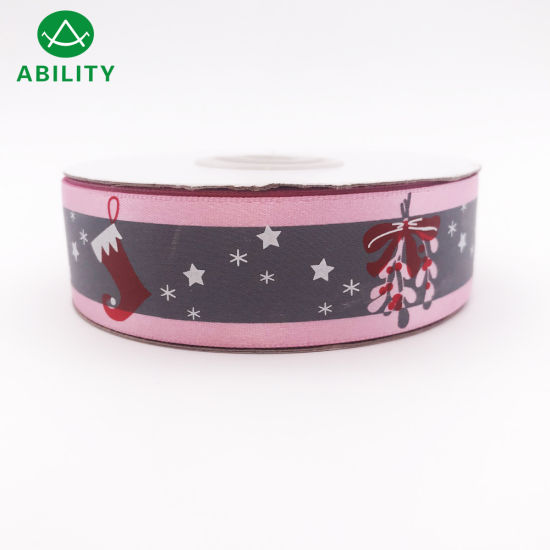 Hot Selling Printed Polyester Christmas Satin Ribbon with Relective Function