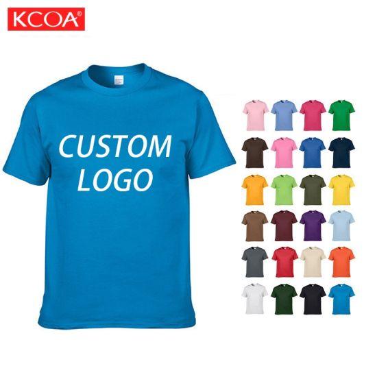 OEM Bulk Custom Printed Plain Blue Men Cotton T Shirt