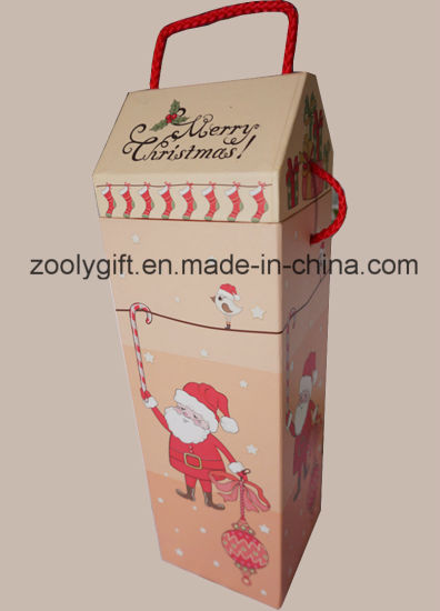 Wine Christmas Packaging.China Merry Christmas Printed House Shaped Paper Wine Gift
