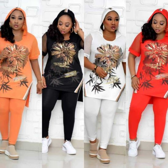 New Design African Casual Pants Suits Plus Size Two-Piece Set Printed Loose Two-Piece Suit