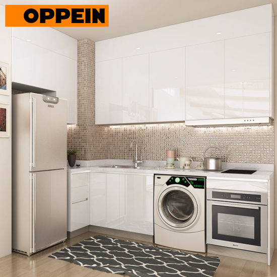 Oppein White Wooden Pantry Kitchen Furniture Designs for Small Kitchen  (OP18-L05)