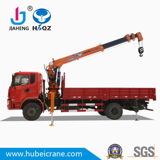 China Manufacturer 8 Ton Hydraulic Cargo Truck Mounted Mobile Telescoped Crane for Lifting