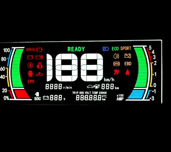Customized Electrical Motorbike, Car, Motorcycle Color Va Segment LCD Display Screen