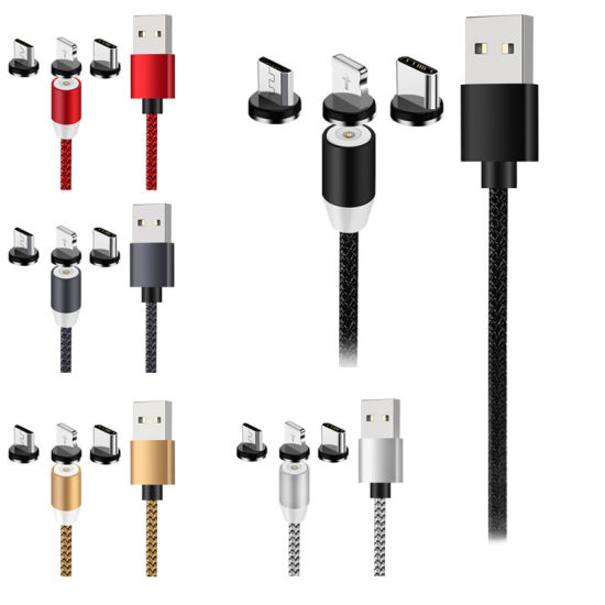 Nylon Braided Magnetic Type C Fast Charging USB Cable for iPhone, Wholesale Mobile Phone Micro USB Charger Data Cable
