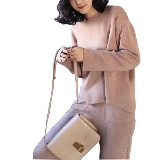 2020 Women Casual Knit Sweater Long Sleeve Leisure Apparel Two Piece Set
