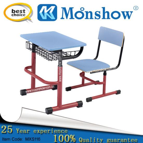 China Steel Shelf School Study Table and Chair, School