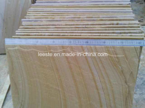 Yellow Wooden Sandstone and Sandstone Tiles pictures & photos