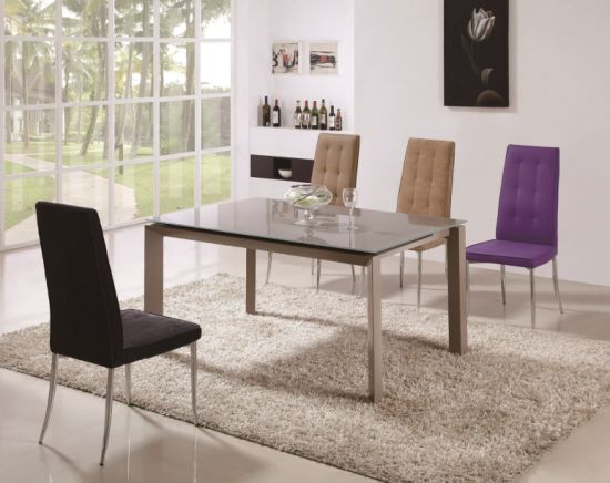 China Modern Oil Painted Glass Furniture Triangle Metal Leg Dining Table China Glass Table Dining Furniture