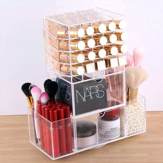 463fd3187424 Clear Acrylic Rotating Cosmetic Makeup Lipstick/Nail Polish/Lip Gloss  Holder Storage Box Organizer with Brush Holder