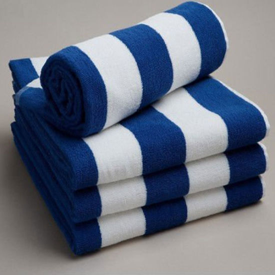 Stripe Print Quality Cotton Velvet Beach Towel/Pool Towel/Swimming Towel