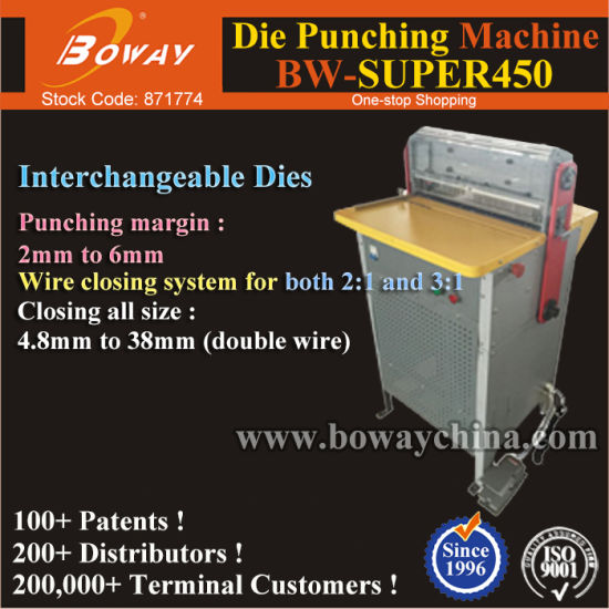 Electric 2: 1 & 3: 1 A3 A4 Calendar Double Loop Tie Wire Hole Die Punching Binding Industrial Paper Punch
