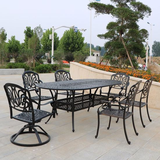 Cast Aluminum Black and White Color Table Chair, Outdoor Furniture for Patio