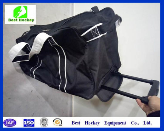 China Cheap Small Wheeled Stand Up Hockey Bag China Wheel Bag