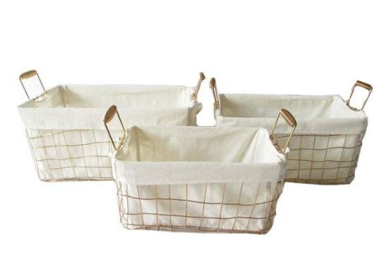 Gild Wire Woven Lined Storage Basket With Spring Handle