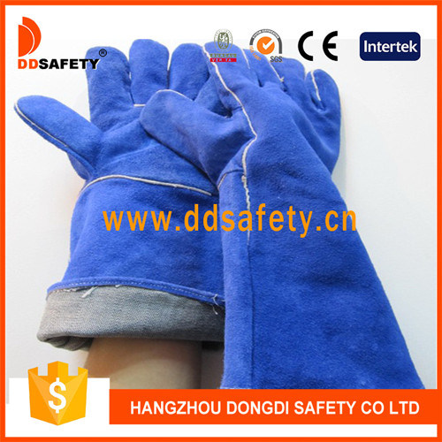Ddsafety 2017 Blue Cow Split Leather Welding Safety Working Glove Past Ce pictures & photos