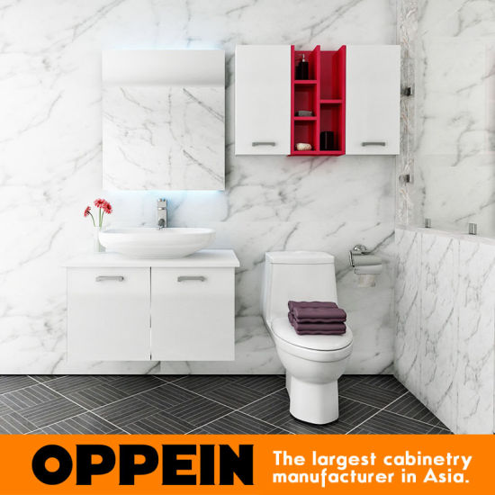 China Oppein White Wooden Bathroom Vanity With Tempered Glass Top