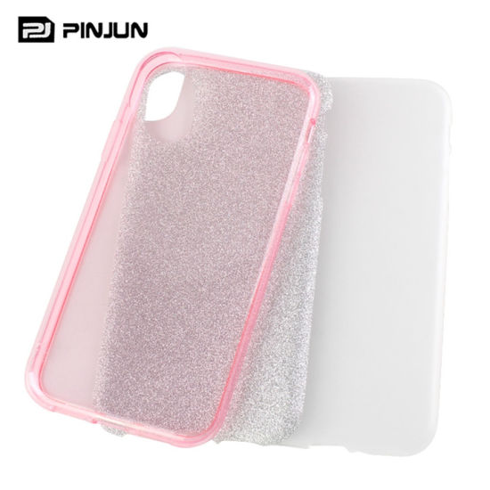 3 in 1 Bling Glitter Mobole Phone Case for iPhone Xs