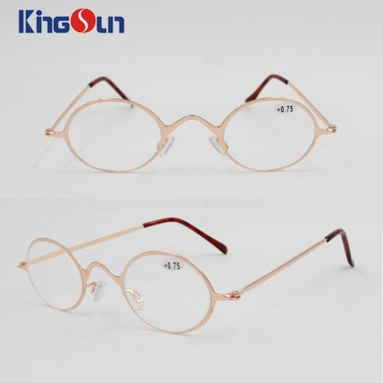 China Round Fashion Frame with Wire Temple Reading Glasses - China ...