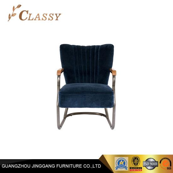 Metal Base Velvet Office Chair Living Room Accent Chair