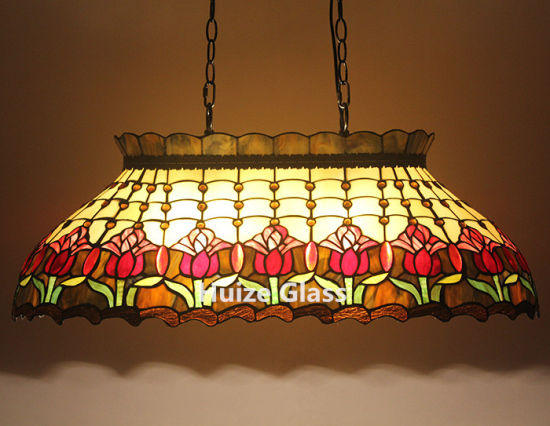 Customized Tiffany Tulip Billiard Lights Stained Glass Hanging Lamp