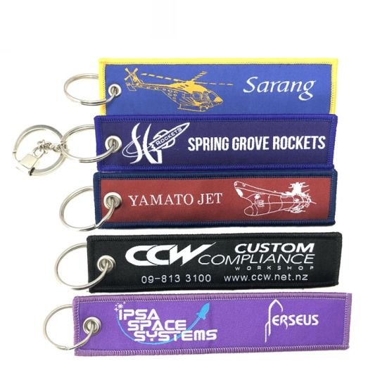 Wholesale High Quantity Cheap Fabric Custom Patch Embroidery Embroidered Keyring Keychain pictures & photos