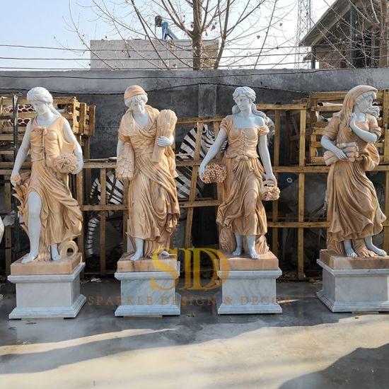 China Famous Garden Statue White Marble Sculpture Of 4 Seasons