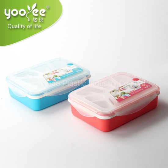High Quality Plastic Rectangle Eco-Friendly School Colorful Lunch Box for Kids