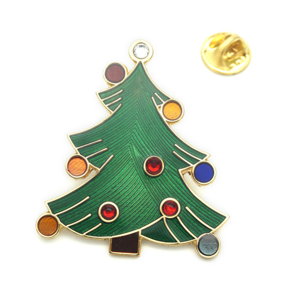 BSCI Factory Made Metal Christmas Tree Badge Lapel Pin with Diamond