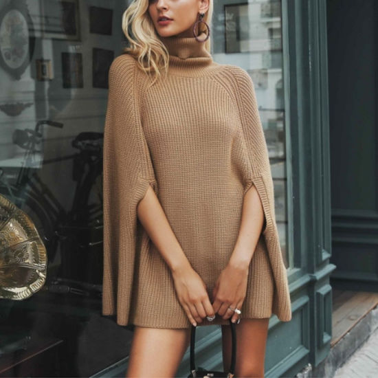 Fashion Womens Solid Turtleneck Batwing Sleeve Cloak Pullover Sweater Poncho Sweater