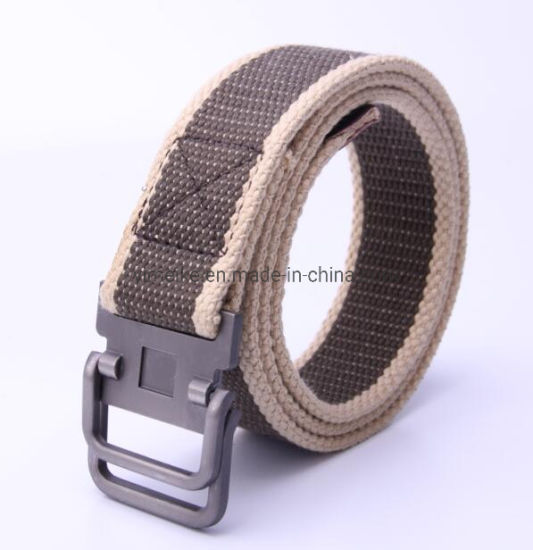 Heavy Duty Double Loop Buckle Classical Striped Men Canvas Fabric Belt
