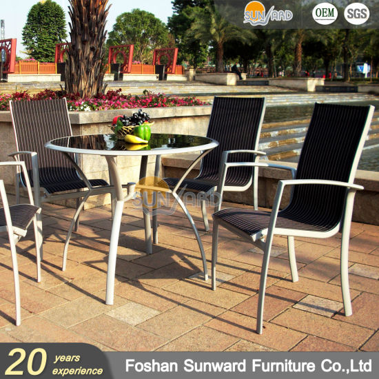 Sunward Wholesale Customized Garden Hot Sale Resort Hotel Outdoor Leisure Patio Dining Restaurant Aluminum Balcony Sling Fabric Chair and Table Furniture