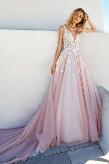 Pink Tulle Evening Dress Lace Bridal Wedding Prom Dresses Z5029 pictures & photos