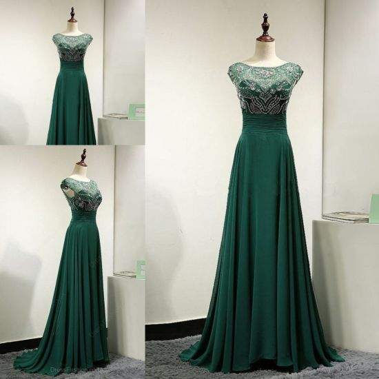 China Heavy Beading Bodice Green Chiffon Evening Gown Ladies Formal