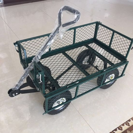 Four Wheels Mesh Garden Carts with Green Color From China Factory